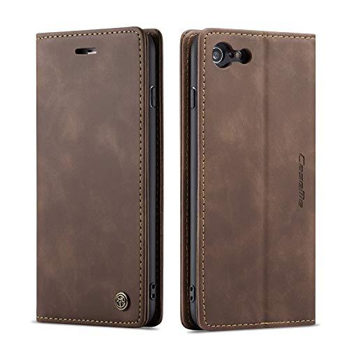 Bigcousin Custodia per iPhone 7 Plus/8 Plus 5.5,Flip Cover in PU Pelle Premium Portafoglio Custodia,caffè