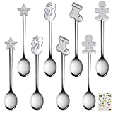 URATOT 8 Pieces Stainless Steel Spoons Coffee Tea Dessert Mixing Spoons Stocking Fillers