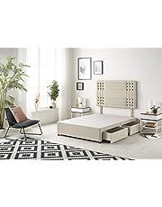 Bed Centre Flexby Divan podstawa łóżka z 4 szufladami i pasującym zagłówkiem, dostępna w różnych materiałach i kolorach - 100 m, 1,2 m, 1,2 m i 1,2 m (1,5 m Super King, Tweed Natural)