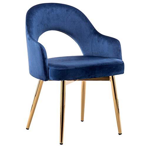YLLN Moderne Esszimmerstühle Rücken Samt Wohnen Hohler Rücken Moderne Lounge Büromöbel Wohnzimmer Sessel Vergoldete Metallbeine Haushalts Esstisch Stuhl (Farbe: Blau)