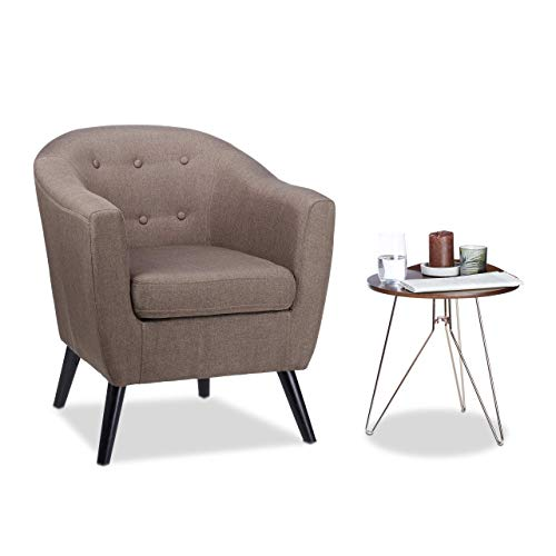 Fauteuil Cocktail Retro, années 50 Chaise Salon Vintage, Lounge Club Coussin, HxlxP: 77 x 67,5 x 65 cm, Brun