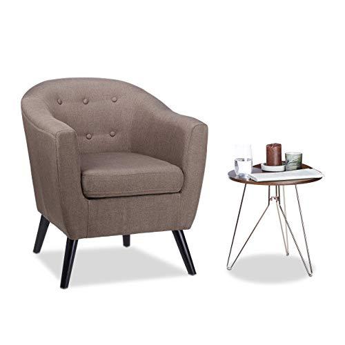 Relaxdays, braun Cocktailsessel 50er, weich, bequem, abnehmbares Sitzkissen, runder Clubsessel, HxBxT: 77 x 67,5 x 65 cm, Standard