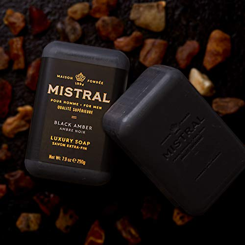 Mistral For Men Luxury Soap, Black Amber