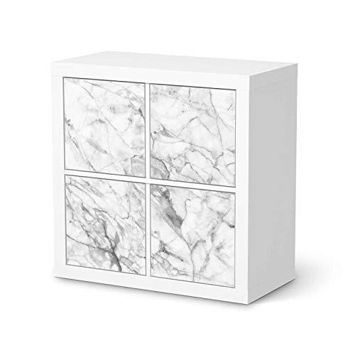creatisto Möbelfolie selbstklebend passend für IKEA Kallax Regal 4 Türen I Möbelaufkleber - Möbel-Sticker Aufkleber Folie I Deko Wohnung für Schlafzimmer und Wohnzimmer - Design: Marmor weiß