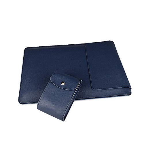 Soft PU Leather Laptop Sleeve for MacBook Air Pro 13.3 14 15.6 inch Stand Cover Bags for Women-Navy Blue-Sets_15.4 inch