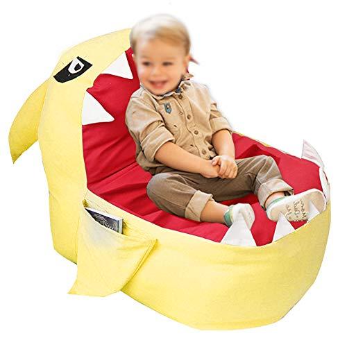 YOUTHINK Stofftier Aufbewahrung Sitzsack Stuhl Niedlichen Flauschigen Hai Große Kapazität Spielzeug Veranstalter Und Aufbewahrung für Kinder Spielzeug Plüschtier(Gelb)