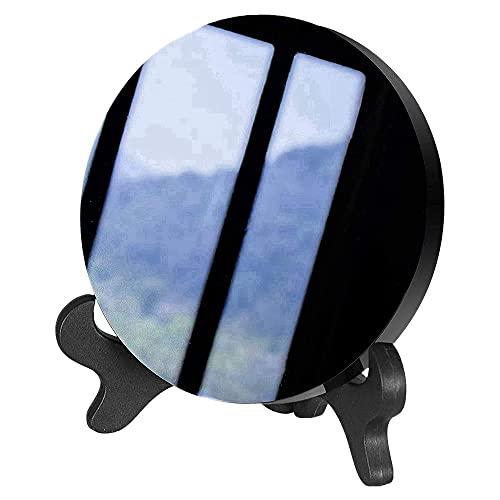 DIDILI Obsidiana con Soporte Feng Shui Cristal Natural Suave DecoracióN del Hogar Qi RecopilacióN de Riqueza y Rectitud 80M