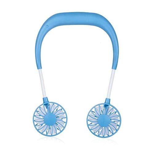 Hands-Free Neckband Fan,Hand Free Personal Fan,Headphone Design Wearable Portable USB Rechargeable Neckband Mini Fan (3 Speeds, 5-10 Working Hours) Blue