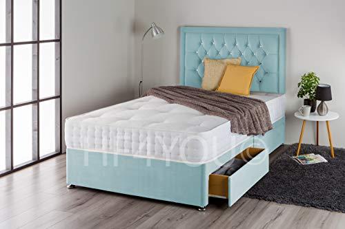 Home Furnishings UK Plush Divan Bed Set with Pocket Sprung Memory Mattress and Matching Nina Diamante Headboard (4 Drawers) (4FT6 Double, Ice Blue Plush)