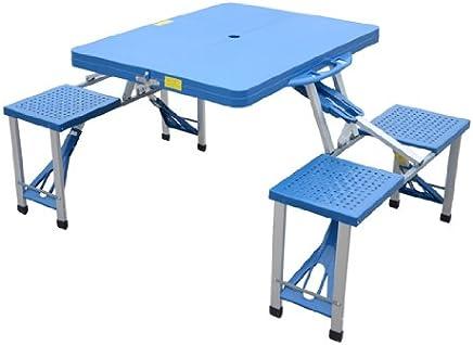 homcom Outsunny Tavolino da Campeggio Pieghevole Portatile in Alluminio e plastica con 4 sedie, Azzurro