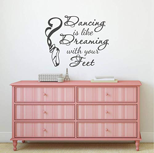 hwhz 57 X 46 cm Dance Quote Wall Decal Dancing is Like Dreaming with Your Feet Saying Wall Sticker Dancer Ballet Pointe Shoes Vinyl Decal