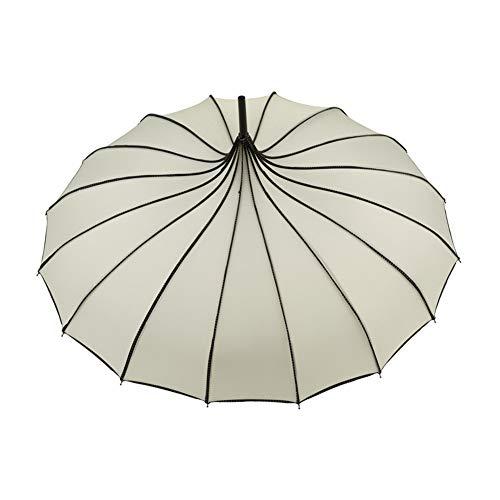 Keepbest Vintage Pagode Regenschirm Brautschirm Hochzeit Party Sonne Regen UV-Schutz Regenschirm weiß
