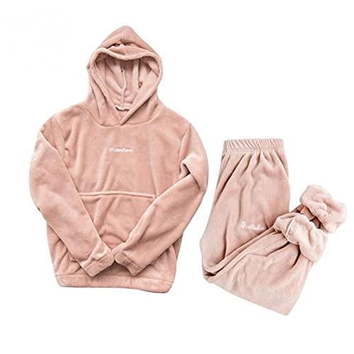 WEDFGX Conjunto de Pijama de Franela de Invierno para Mujer Pijama de Lana Ropa de Dormir para el...