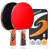 Easy-Room Juego de 2 raquetas de ping pong y 3 pelotas y raquetas de ping pong con funda de transporte (Advanced Play)