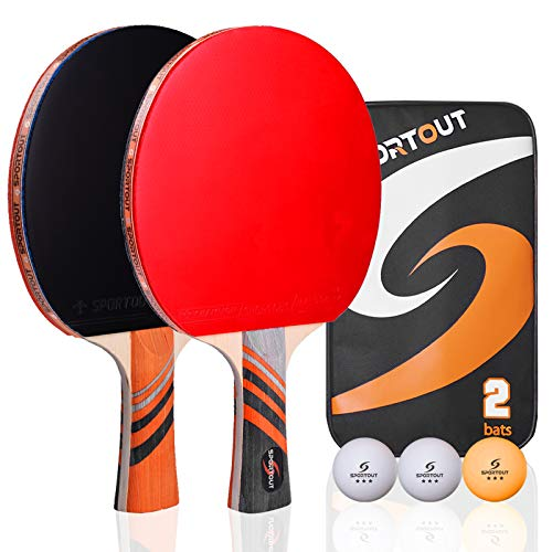 Easy-Room Tischtennisschläger, Tischtennis-Set mit 2 Schlägern und 3 Bällen und Tischtennis-Schläger mit Carry Case(Advanced Play) (Tischtennis-Set)