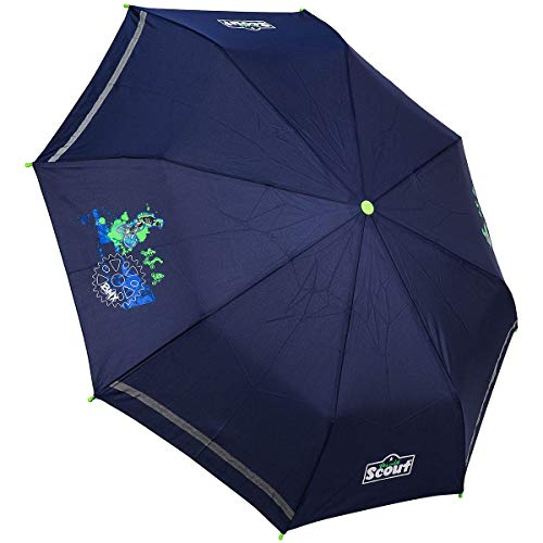 Scout Kinder Regenschirm Taschenschirm Schultaschenschirm mit Reflektorstreifen extra leicht BMX