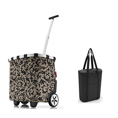 Perfektes reisenthel Einkaufs-Taschen-Set 2tlg. reisenthel carrycruiser/Einkaufstrolley und Gratis reisenthel Isotasche/thermoshopper in Trendigen Designs (Baroque Taupe)