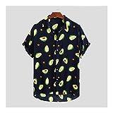 KAKAYO Camisas de Manga Corta de la Camisa del Verano Impreso Masculino de algodón Camisas de la Playa de Hawai (Color : Navy Blue, Size : XL.)