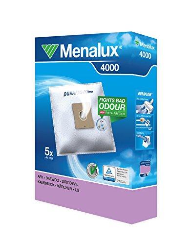 Menalux 4000 - Pack de 5 bolsas sintéticas y 1 filtro para aspiradoras Fagor, Severin, Solac Beagle y Springtec y Taurus Avensis, Golf, Polo y Vitara
