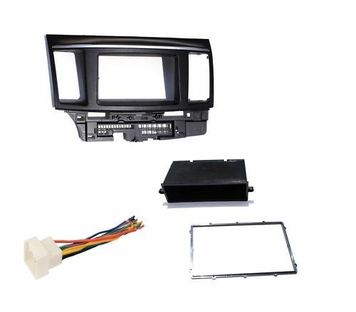 Aftermarket Radio Double Din Dash Installation Install Kit + Wire Harness Compatible with Mitsubishi Lancer / Lancer Evolution (2007 - 2017)