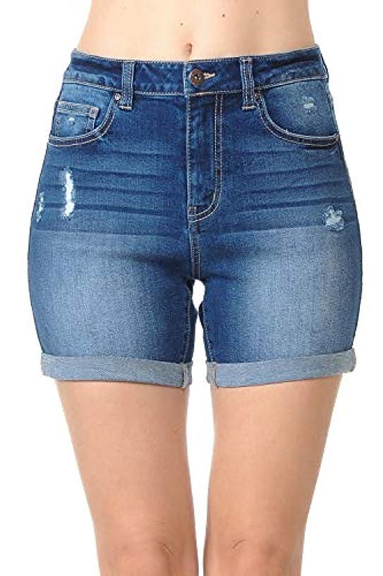 Wax Women's Juniors High Rise Midi Denim Shorts with Destruction