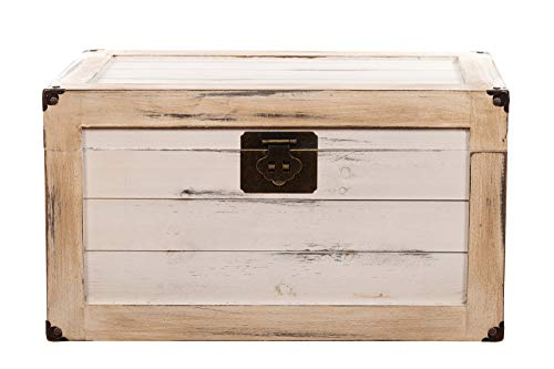 Birendy BS 17001-S Antikweiß ECHTHOLZ MASSIV Truhe, Holztruhe, Schatzkiste,Kiste, Piratenkiste (Größe M (40cm B x 25cm H x 25cm T))