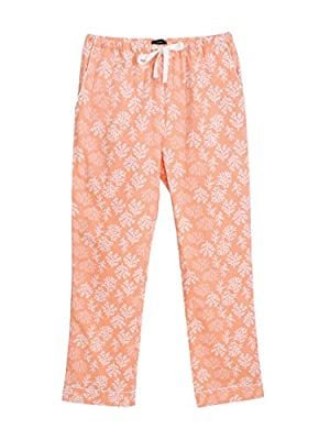Noble Mount Twin Boat 100% Cotton Pajama Pants for Women - Corals Peach - Small from