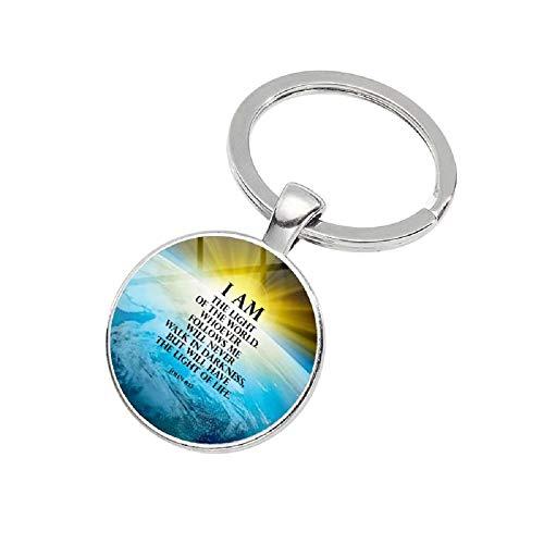 """Llavero inspirador de versículo de la Biblia, con texto en inglés """"Christian Encourage"""", con texto en inglés """"Scripture Gifts Key Ring"""", color plateado"""
