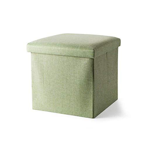 Li Voetbank, comfortabel, premium kwaliteit, opvouwbare opbergdoos, schoenenkast, voetenbankje, gevoerde overtrek van linnen, make-up-kruk met kussen voor de hal 38x38x38cm