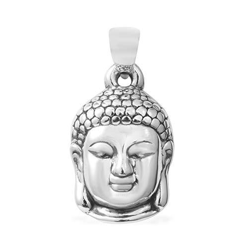 925 Sterling Silver Unisex Meditation fortune Tibetan Buddha Head Charm Prayer Religious Pendant Women Jewelry for Gift (Carved/Hematite)