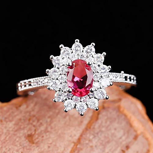KEJI Anillos de piedra roja para las mujeres joyería de moda anillo de flores señoras accesorios anillo bague femme anillos mujer f5k096
