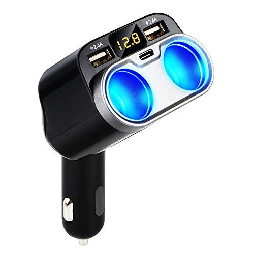 momok Cargador de Coche 2 Enchufes Divisor de Encendedor de Cigarrillos 12 / 24V Puertos USB Tipo C Interruptor Separado LED para TeléFono Celular GPS Dash CAM