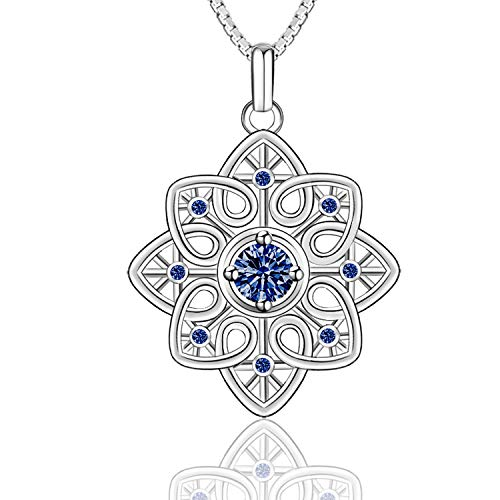 Celtic Love Knot Necklace for Women 925 Sterling Silver Good Luck Irish Celtic Knot Triangle Vintage Love Heart Pendant Necklace, 18 inches