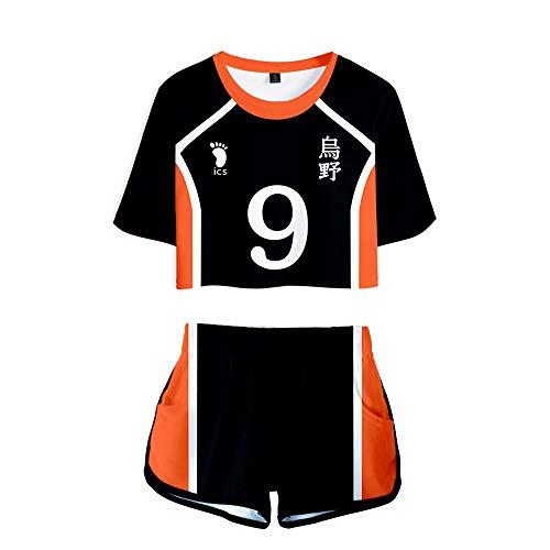 Haikyuu Karasuno High School Uniform Sport Trikot Kostüm Volleyball Cosplay T-Shirt T-Shirt und Shorts Set für Männer Frauen
