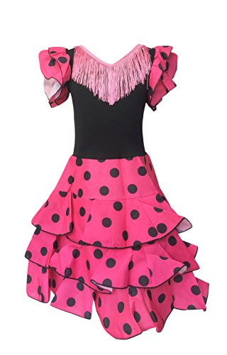 La Senorita Vestido Ropa Flamenco Niño Español Traje de Flamenca Chica/niños Rosa Negro (Talla 4, 92-98 - 65 cm, 3/4 años)