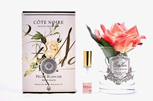 Cote Noire - Exposición Floral de Seda perfumada Tocco Natural Rosa melocotón Blanco en jarrón de Cristal