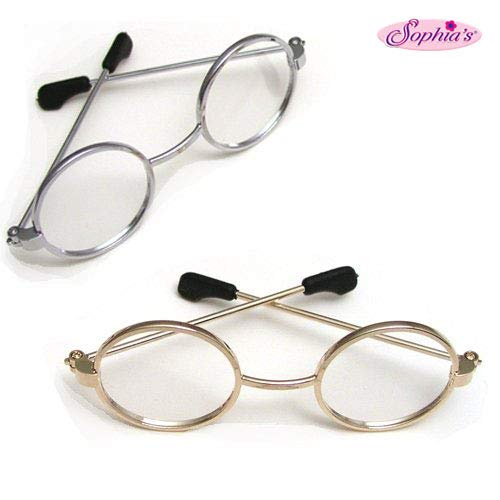 Sophia's Doll Eyeglasses Set for 18 Inch American Girl Dolls, 1 Pair Gold Doll Eyeglasses & 1 Pair Silver Doll Eyeglasses - Set of Gold & Silver Doll Glasses