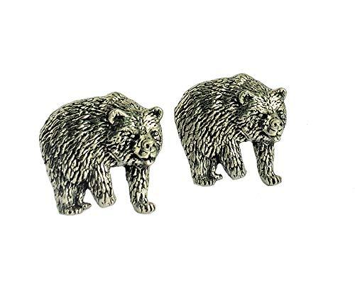 Manschettenknöpfe Bär, handgefertigt in England aus feinem englischen Zinn, in Geschenkverpackung