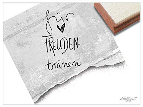 Stempel Textstempel FÜR FREUDENTRÄNEN Handschrift mit Herz - Schriftstempel Glückwünsche Hochzeit, Karten Gastgeschenke Tischdeko- zAcheR-fineT