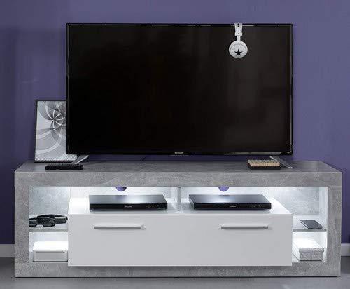 trendteam smart living Wohnen, TV-Unterteil Klein Rock, 44 x 150 x 48 cm, Holzdekor, in weiß mit viel Stauraum und Ablagefläche