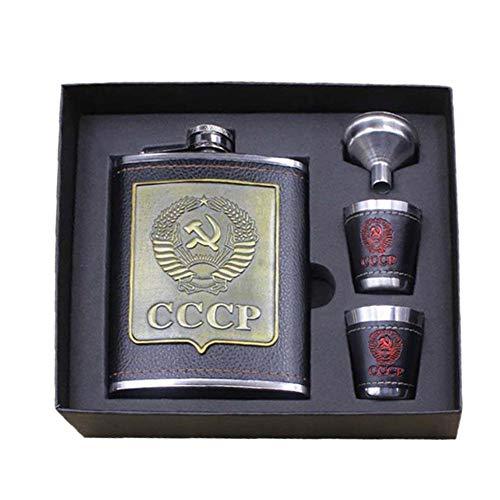 starnearby Edelstahl-Flachmann Outdoor-Flachmann Russische Premium-Flachmann PU-Leder Patch cccp