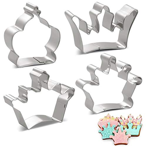 Amison - Juego de cortadores de galletas (4 piezas, corona de reina, corona de príncipe y corona de princesa, acero inoxidable