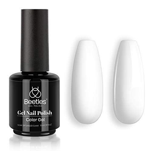 Beetles Gel Nail Polish, 1 Pcs 15ml White Color Soak Off Gel Polish Nail Art Manicure Salon DIY at Home