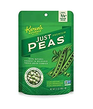 Karen s Naturals Just Peas 4 Ounce Pouch All Natural Freeze Dried Vegetables Vegan Paleo Gluten Free Healthy Dried Veggie Snacks with No Additives or Preservatives Dairy Free Non-GMO