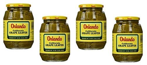 Orlando California Style Grape Leaves California Style - Tender Leaves Premium Quality- 16 Oz-475 Gm. Pack of 4 Jars - ورق عنب طري اورلانو