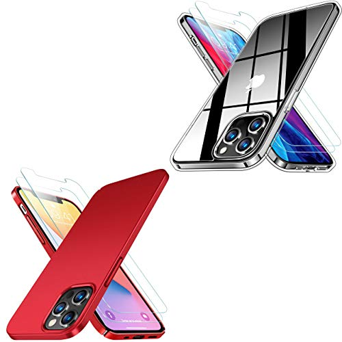 RANVOO Crystal Clear Compatible with iPhone 12 Pro Max Case with 2 Screen Protector & Ultra Thin Matte iPhone 12 Pro Max Case Red, 6.7 inch