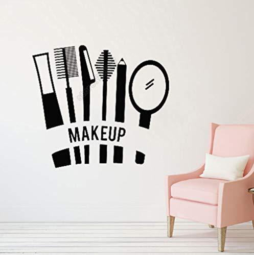 Beauté Cosmétiques Mascara Rouge À Lèvres Maquillage Toilettage Autocollant Magasin De Manucure Décor Girl's Room Amovible Vinyle Stickers Muraux 63X57 Cm