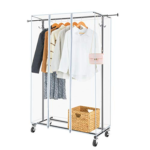 Greenstell Garment Rack with PVC Cover on WheelsHeavy Duty Adjustable Clothing Rack with Extendable Hanging Rail and Two HooksChrome Standard Size)