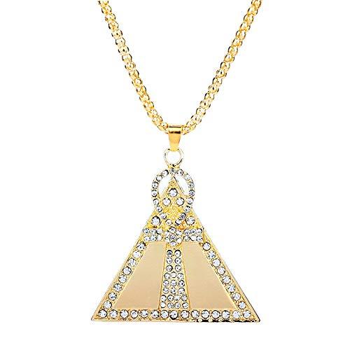 YUNMENG Collar con Dije de Cruz de Ankh de Cristal, Collar con Colgante de pirámides egipcias, Llave de Color Dorado de la Cadena de Vida para Hombres y Mujeres, Nuevo