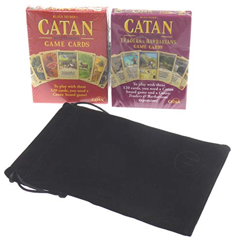 Catan & Catan Traders & Barbarians Replacement Game Cards Bundle with Velour Drawstring Bag